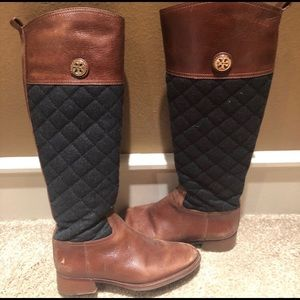 Tory Burch || Rosalie Black Quilted Talk Boots